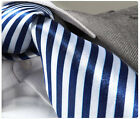 NEW ITALIAN DESIGNER DARK BLUE & WHITE STRIPED SILK TIE & HANKY