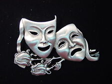 """JJ"" Jonette Jewelry Silver Pewter 'COMEDY & TRAGEDY' Pin Phantom Opera"