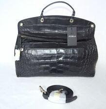 Authentic FURLA top handle/crossbody PIPER bag crocodile embossed leather BLACK