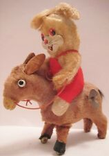 Unusual Antique Tin & Plush Wind Up Toy Rabbit Riding a Donky Japan 1950s Nice!