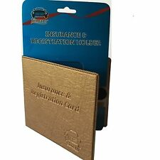 Gold AUTO CAR TRUCK INSURANCE REGISTRATION CARD CASE HOLDER Embossed FauxLeather