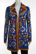 Valentino Blue Multi-Color Geometric Print Suede Long Sleeve Studded Coat Size 4