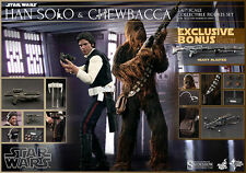 HOT TOYS STAR WARS IV HAN SOLO AND CHEWBACCA 1:6 FIGURE SET mib read notes