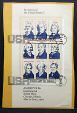 Presidents of the United States FDC Ameripex 86 Stamp Show Block USA (L-1523+