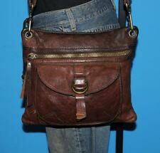 Vintage FOSSIL Distressed Brown Leather SASHA Messenger Satchel Tote Purse Bag