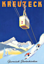Art Ad  German Kreuzeck Ski Skiing Travel  Garmisch     Poster Print