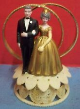 Vintage Wilton Cake Topper 50th Golden Anniversary Gold Rings Gray Hair 1980s