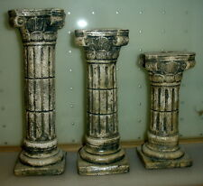 Set of 3 Ionic Greek Roman Candle Holders Column Antique Finish Sculpture 19001