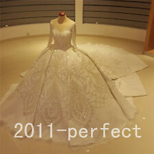 Luxury Wedding Dress Crystals Cathedral train Bridal Vintage Ball Gown Custom