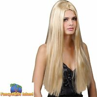HIPPY 60s CLASSIC LONG BLONDE STRAIGHT WIG Adults Ladies Fancy Dress Costume