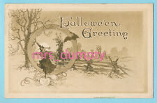 HALLOWEEN Gibson WITCH & Bat Woodland Scene ~ HTF Arts & Crafts POSTCARD