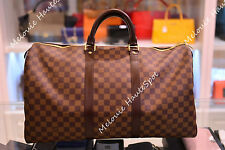 AUTH LOUIS VUITTON UNISEX LV KEEPALL 50 DAMIER EBENE TRAVEL LUGGAGE XL TOTE BAG