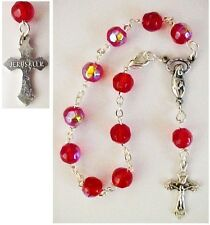 Red Crystal Rosary Bracelet from the Holy Land