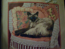 DIMENSIONS NEEDLEPOINT KIT SIAMESE 'N WICKER Made n USA Open but complete Meow!