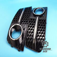 Pair Chrome Style Front Bumper Fog Light Lamp Grille For AUDI A4 B8 2008-2012