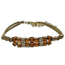 "7"" to 8 3/4"" Adjustable Gold Amber Brown AB Cube Bead Clear Rhinestone Bracelet"