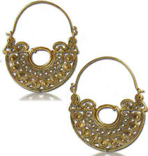 "PAIR 18g LARGE 2"" 1/4 INCH POLISHED BRASS PLUGS EARRINGS HOOPS GAUGES TRIBAL"