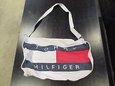 VINTAGE Tommy Hilfiger Flag Duffle Bag White Nap Sack Beach Tote Gym Strap
