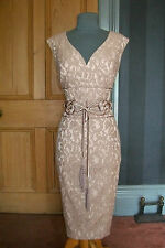 """GORGEOUS BNWT PHASE EIGHT """"ESME"""" DARK CREAM LACE FITTED EVENING DRESS, SIZE 14"""