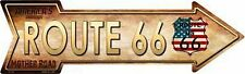 "American Flag Route 66 Novelty Metal Arrow Sign 17"" x 5"" Wall Decor"