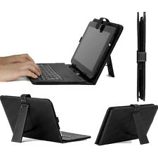 "Black Faux Leather USB Keyboard Stand Cover Case For 10"" 10.1"" 10.2"" Tablet PC"