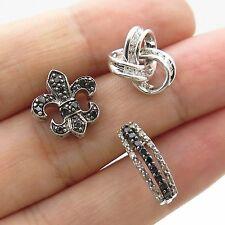 925 Sterling Silver Real Diamond Lot of 3 Single Earrings