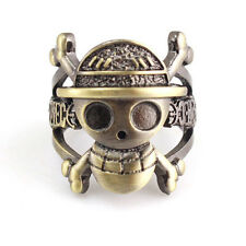 Anime One Piece Luffy Skull Logo Bornze Metal Finger Ring Cosplay Gift US Size 8