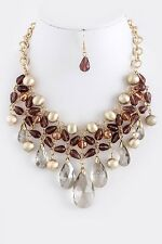 D9 Clear Crystal Pantone Masala Brown Gold Bead Necklace Earring Set