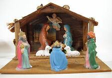 Vintage Wood Nativity Creche Fold Up Plaster Figures Christmas Mid Century Xmas