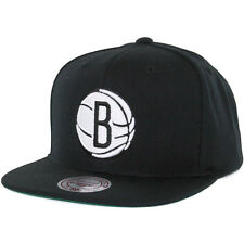 Mitchell & Ness Wool Solid 2 Brooklyn Nets Snapback Hat (Black/White) NBA Cap