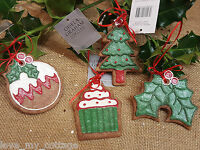 Gisela Graham Hanging Christmas Gingerbread Tree Decoration Holly Cake Pudding