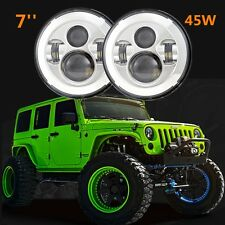 2X 45W 7 Inch LED Projector Headlight with H4 H13 Adapters for Jeep Wrangler