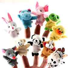 10pcs Zoo Farm Animal Finger Puppets Bed Tell Story Plush Baby Hand Toy Gift