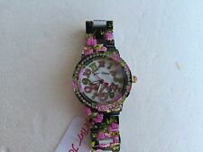 NWT Betsey Johnson BJ00482-05 BLACK / PINK ROSE FLOWER CRYSTAL BLING WATCH