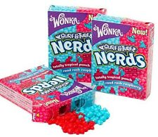 THREE BOXES NERDS SURF & TURF TROPICAL PUNCH + RASPBERRY SUGAR CANDY 3 x 1.65 OZ