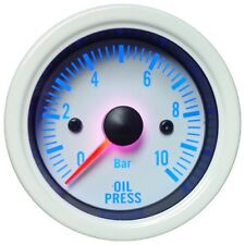 52mm Blue LED Backlight Oil Pressure Gauge (White Face with Stainless Rim)