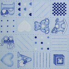 Baby Blue Patchwork Nursery Fabric Teddy Rattle Pram Pm