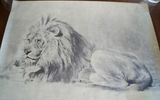 Vintage R. GUILLOT LION Charcoal Print Numbered & Signed MINT!