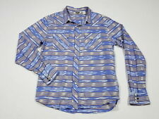 Salt Valley Western Urban Outfitters Blue Aztec/Southwest Pearl Snap Shirt Large
