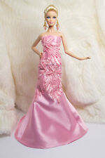 Ooak Handmade Pink Silk Flower Evening Gown Outfit Dress For Barbie Muse Doll