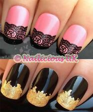NAIL ART SET #80. FRENCH TIP LACE WATER TRANSFERS/DECALS/STICKERS & GOLD LEAF