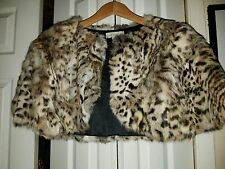 Lord & Taylor Bolero Shrug Cape Leopard Print Rabbit Fur