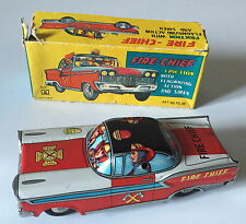 VINTAGE MASUYA MASUO JAPAN TINPLATE FRICTION DRIVE FIRE CHIEF CAR -ORIGINAL BOX
