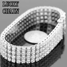 MEN,S STAINLESS STEEL ICED OUT 4 ROWS TENNIS LINK SILVER BRACELET/69g/PC52