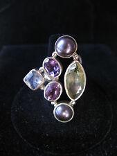 Ring Multi gemstone Amethyst Pearl Rainbow Moonstone size 6.25 likestyle sajen