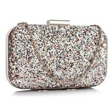 CLUTCH hand BAG WEDDING EVENING shoulder chain silver glitter sequin multi 323