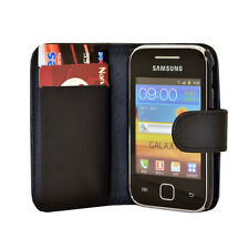 black WALLET Leather phone Case Card Slots for Samsung Galaxy Young GT-S5360