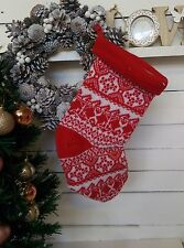 Christmas Stocking Santa Knitted Sock Large Father Decoration Tree Traditional