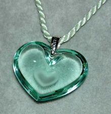Authentic LALIQUE Seafoam Green Tender Heart Crystal Pendant Necklace France NIB
