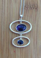 Rare Derbyshire Blue John Vintage Style Sterling Silver  Pendant And Chain J399
